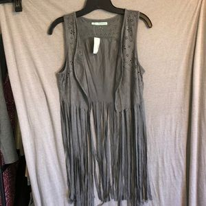 NWT! Maurices fringe gray vest. Small. Adorable!